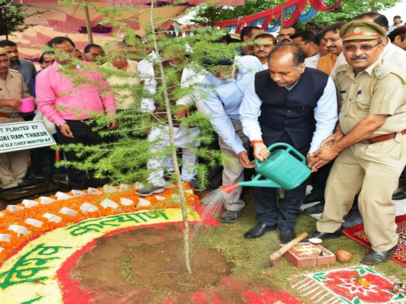 Chief Minister Shri Jai Ram Thakur  planting a sapling of Deodar on the occasion of State Level Van Mahotsav at Churwadhar in Rajgarh on 10 July 2018.
