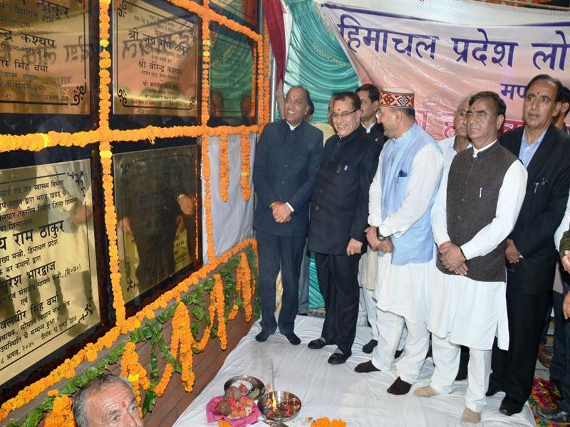 Chief Minister Shri Jai Ram Thakur inaugurating & laying foundation stone of various schemes on stage  at Balghar in Shimla district on 12  July 2018.