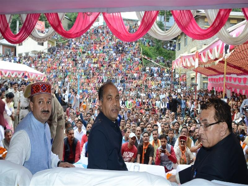 Chief Minister Shri Jai Ram Thakur  during public meeting at Chopal in Shimla district on 12  July 2018.