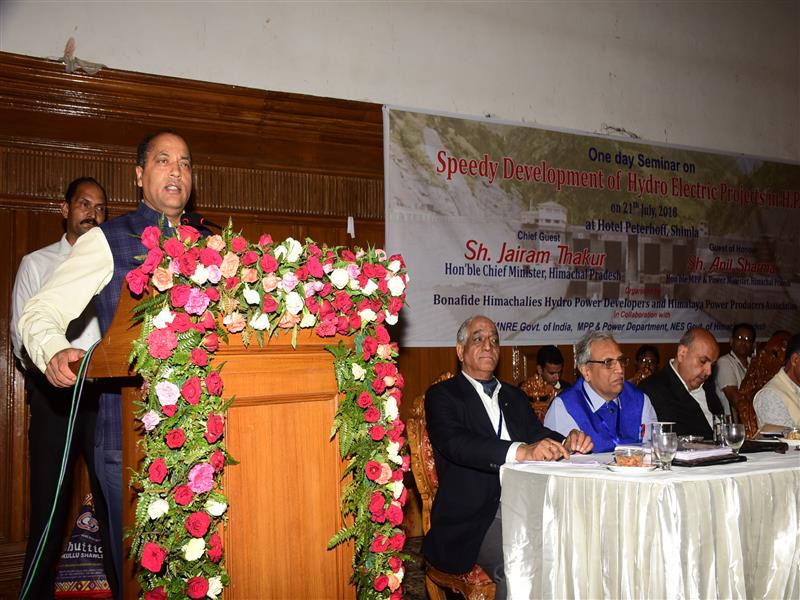 Chief Minister Shri Jai Ram Thakur addressing the gathering during the Bonafide Himachali Hydro Power Developers and Himalaya Power Producers Association function at Shimla on 21 July 2018