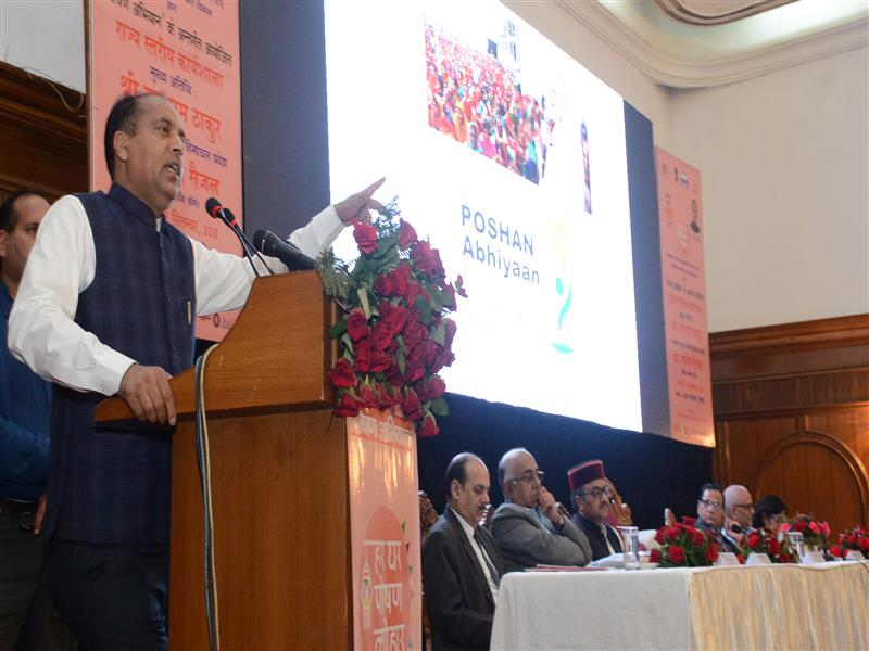 Chief Minister Shri Jai Ram Thakur speaking during the workshop on Poshan Abhiyan organised by the Women and Child Development department at Shimla on 5 Sep 2018