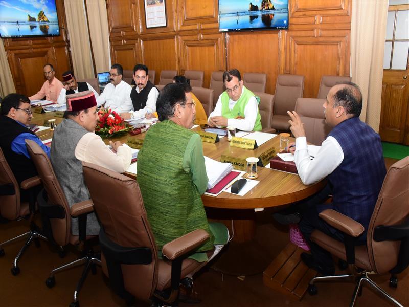 Chief Minister Jai Ram Thakur presiding over the Cabinet Meeting at Shimla on 5 Sep 2018