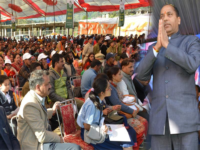 Chief Minister Shri Jai Ram Thakur during the public meeting at Janjehli in Mandi District on 11 October 2018