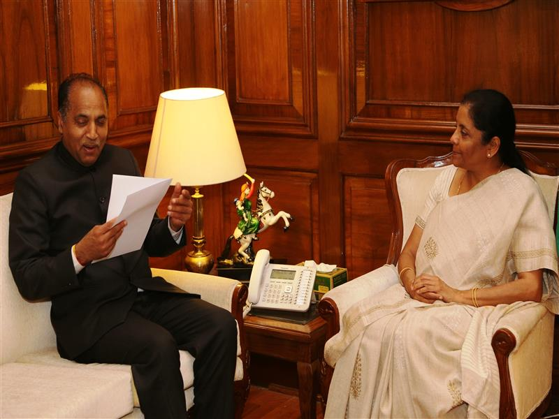 Chief Minister Sh. Jai Ram Thakur meeting with Defence Minister Smt. Nirmala Sitharaman in New Delhi on 8 November,2018.