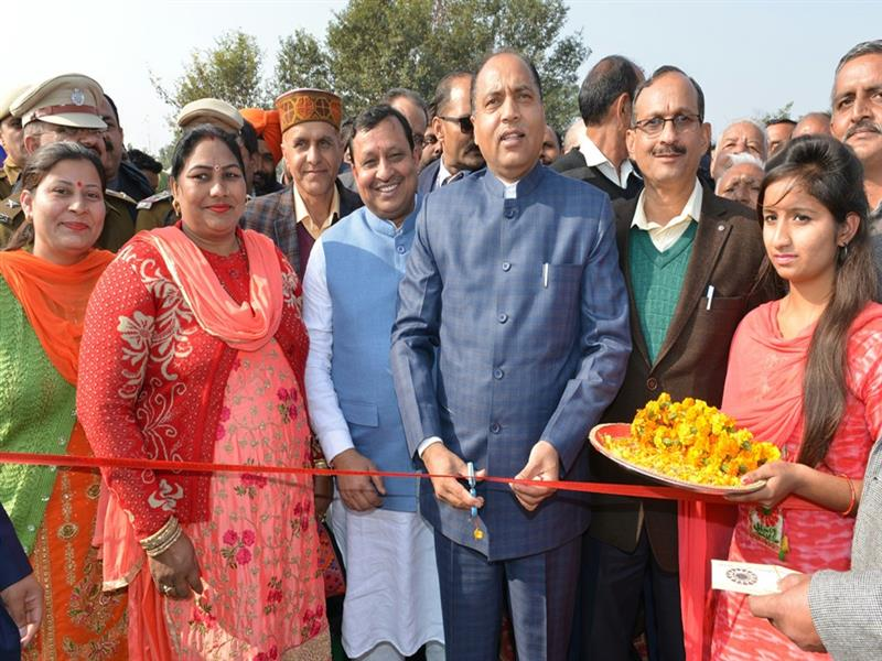 Chief Minister Shri Jai Ram Thakur Inaugurating  Bridge at Pekhubela Khad in una on 6 Dec 2018.