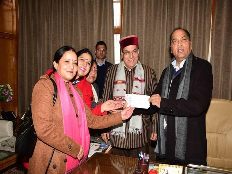 NSS Unit of GSSS Chhota Shimla presented a cheque to Chief Minister Shri Jai Ram Thakur towards the Chief Minister