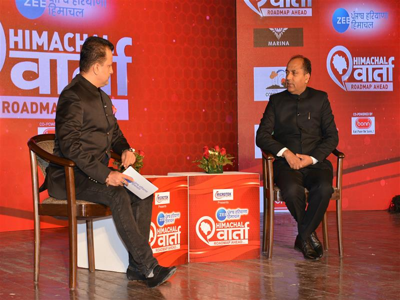 Chief Minister Shri Jai Ram Thakur speaking while participating in the 'Himachal Varta-Roadmap Ahead' programme of Zee Punjab, Haryana Himachal at Shimla on  10 January 2019