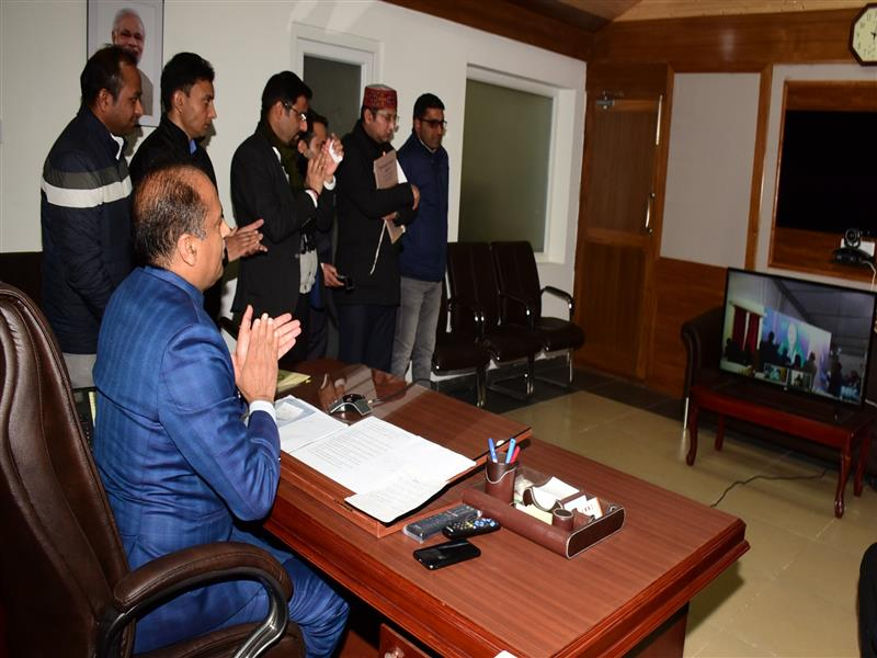 Chief Minister Shri Jai Ram Thakur addressing the people through video conference from Shimla after inaugurating Cremica Food Park at Singha in Una district on 10 Feb 2019.
