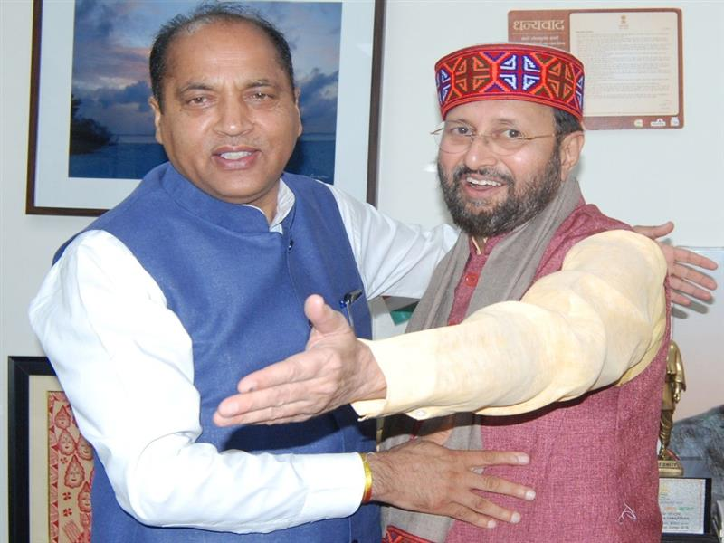 Chief Minister Shri Jai Ram Thakur  with Union Minister for Environment Forest and Climate change  Sh Prakash Javadekar at New Delhi on 8 June 2019.