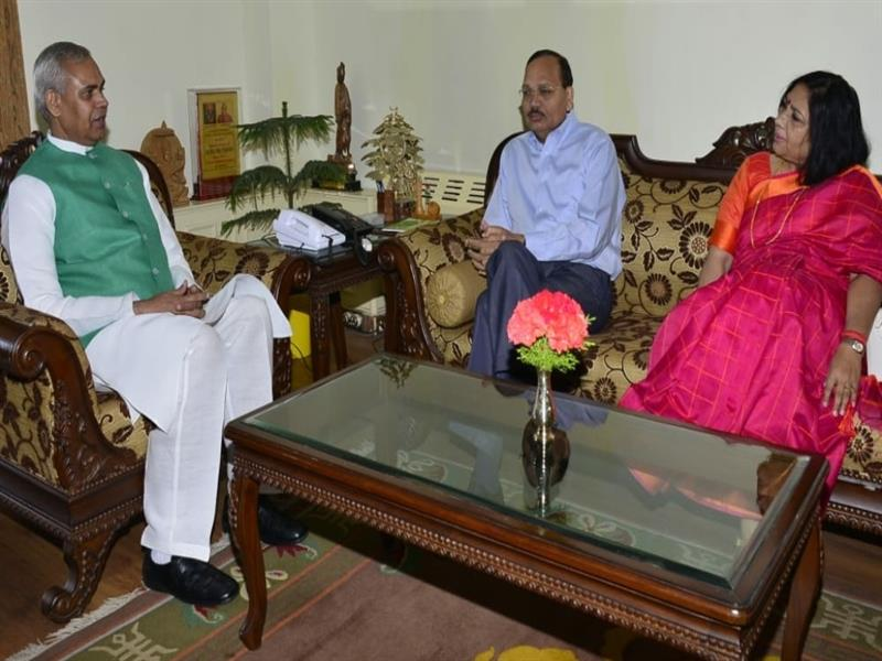 Judge of the Supreme Court of India Justice Surya Kant calls on Governor Acharya Devvrat at Raj Bhawan Shimla on on 9 June 2019.
