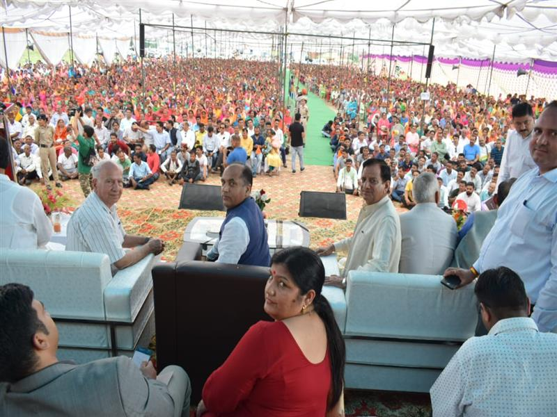 Chief Minister Jai Ram Thakur during the Labharthi Semmalen at Dharamshala  in Kangra district on 9 Sep 2019.