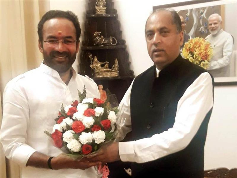 Union Minister of State for Home Affairs G.Krishan Reddy calls on Chief Minister Jai Ram Thakur at Shimla on 11 Sep 2019.