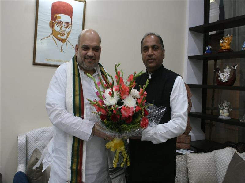 Chief Minister Jai Ram Thakur  calls on Union Home Minister Amit Shah at New Delhi on 6 October 2019.