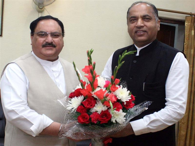 Chief Minister Jai Ram Thakur  with Sh J.P. Nadda Working President of BJP at New Delhi today.