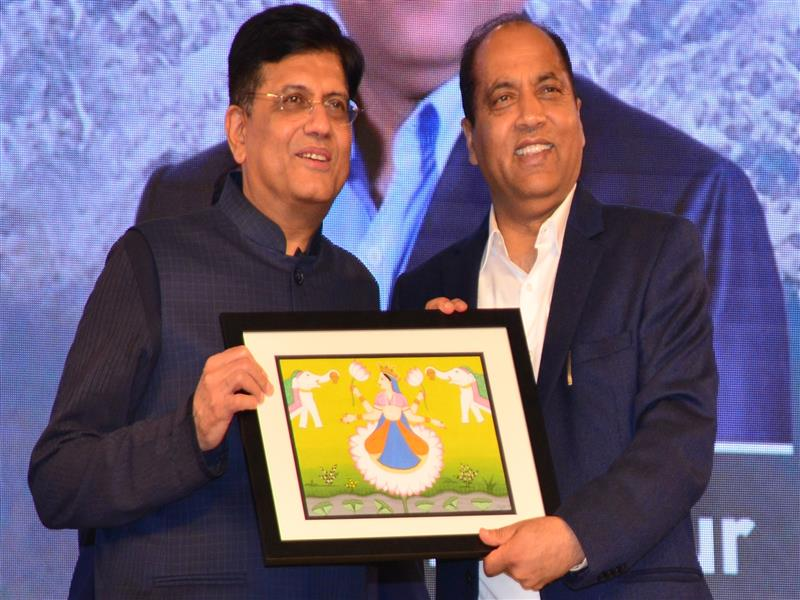 Union Commerce and Industries Minister Piyush Goyal being presented memento by Chief Minister Jai Ram Thakur during Rising Himachal Global Investors' Meet  at Dharamshala