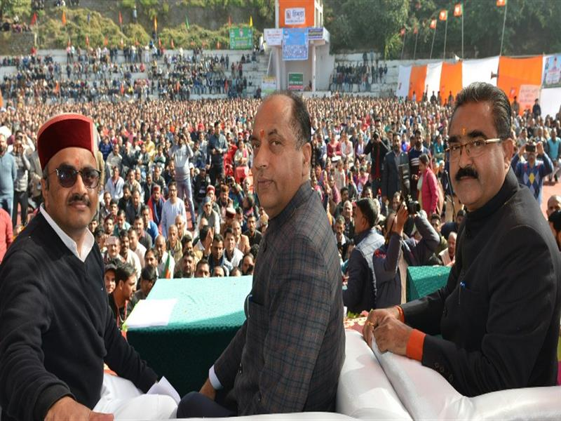 Chief Minister Jai Ram Thakur during  Public meeting at Parwanoo in Solan district on 2 Dec 2019..