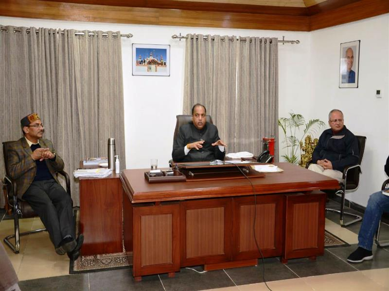 Chief Minister Shri Jai Ram Thakur during a video conferencing meeting with the Deputy Commissioners of the state from Shimla on 27 March 2020