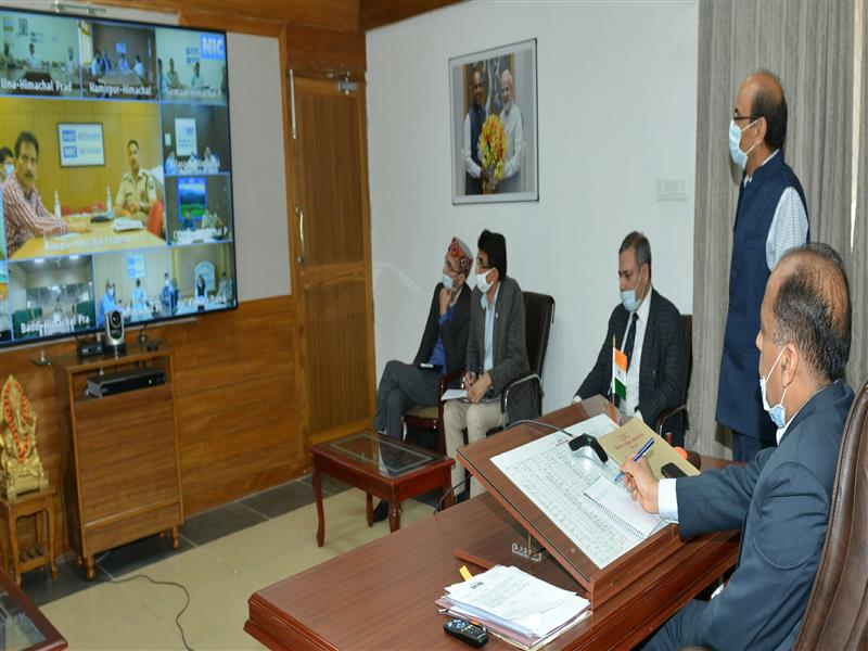 Chief Minister Jai Ram Thakur  presiding over the video conference meeting at Shimla on 22 May 2020.