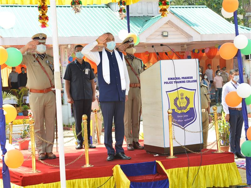 Chief Minister Jai Ram Thakur  presiding over the Passing Out Parade of the DSP and SI Probationers  at Himachal Pradesh Police Training College Daroh in Kangra on 12 Sept. 2020.
