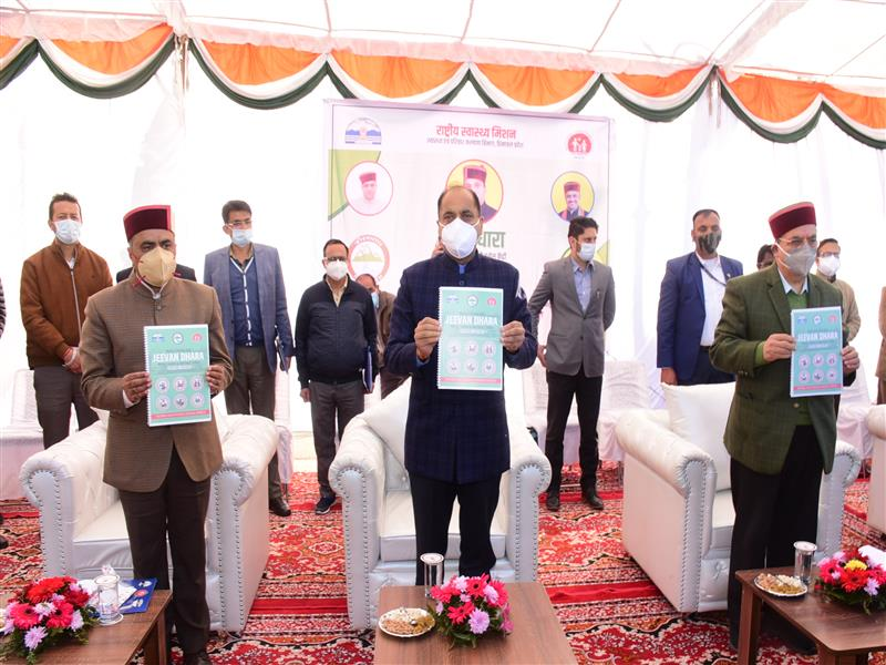 Chief Minister Jai Ram Thakur flagging off Medical Mobile Unit Jeevan Dhara at Shimla on 18 Nov. 2020.