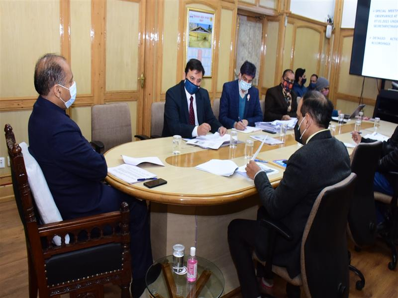 Chief Minister Jai Ram Thakur presiding over the review meeting of preparedness of Road Safety Month at Shimla today.