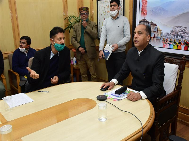 Chief Minister Jai Ram Thakur virtually inaugurating Water Sports Activities at Tattapani from Shimla today.