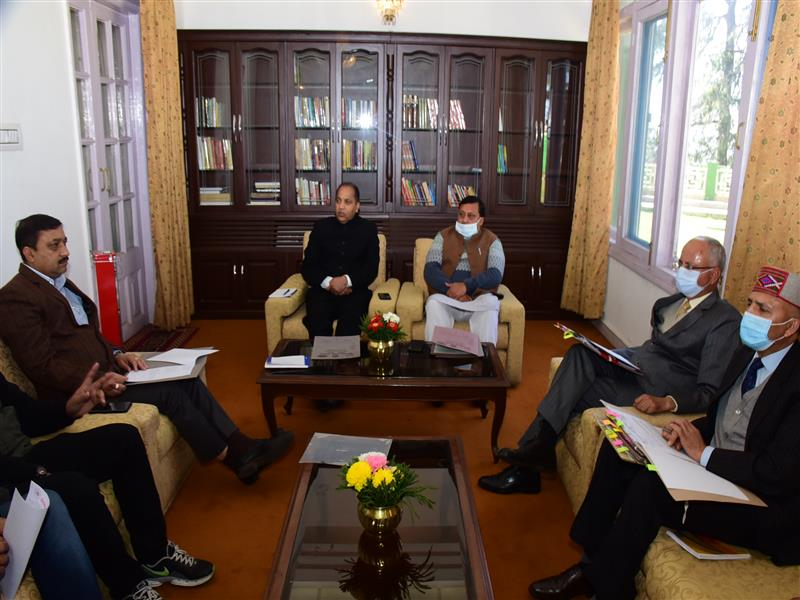 Chief Minister Jai Ram Thakur presiding over a meeting with the Himachal Pradesh Traders Welfare Board at Shimla today.