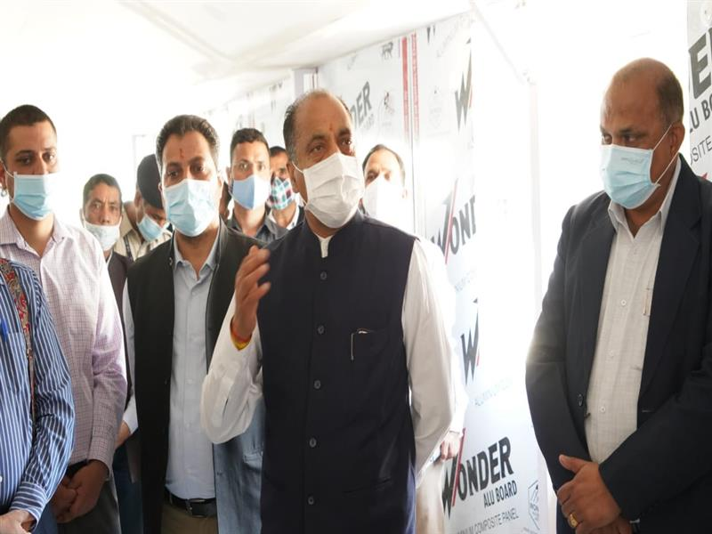 Chief Minister Jai Ram Thakur inspecting and reviewing the ongoing construction work.