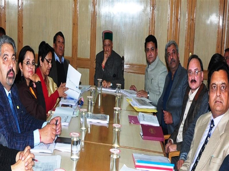 Chief Minister Shri Virbhadra Singh presiding  over a meeting at Shimla on 16 Feb 2017.